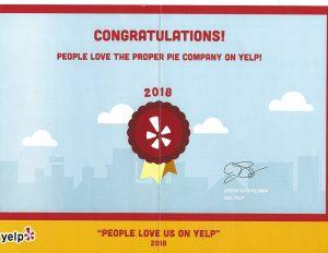 Yelp! 2018 award
